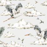 DEKO.TAP.176-(storks_in_the_clouds_wallpaper-)100×280